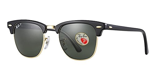 Ray-Ban RB3016 Clubmaster Sunglasses (51 mm, Solid Polarized Lens) Ê