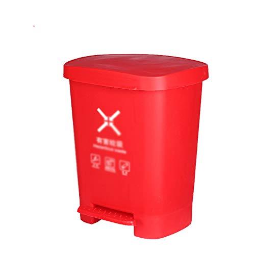 Chang-S-Q-123 Bote De Basura Al Aire Libre Rojo, Tipo Pedal Plastic Passh Can Home Hotel Cocina Caja De Basura Clasificación Clasificación Reciclaje De Basura Papelera(Size:40L,Color:Rojo)