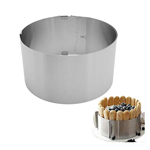Retractable Stainless Steel Circle Foam Ring Cake Baking Tool Set Size Shape Adjustable Bakeware Silver 16-30cm