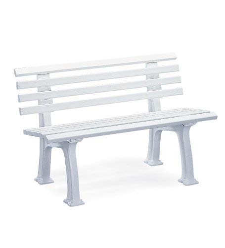 Plow & Hearth German-Made, Weatherproof Resin 2-seat Garden Bench, Ergonomic Design, Holds Up to 500 lbs, Weighs 24½ lbs, 47' L x 21½'W x 29' H, (White)