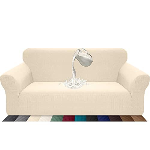 Luxurlife Funda de sofá Impermeable 3 Plazas Funda para Sofá Elástica Antideslizante Protector de Muebles Patrón para Sala de Estar(3 Plazas,Beige)