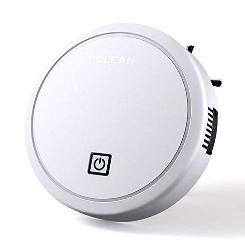 Vuffuw Robot Aspirador Inteligente, 3 en 1 Robot Aspirador automático y fregasuelos, Aspiradora Robot para Suelos Duros Y Alfombras, USB Recargable, para Mascotas, moqueta, alfombras (White 2)