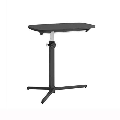 QIDI Laptop-Tisch Stand Schreibtisch Wagen Lapdesk Mausbrett Verstellbare Höhe Abschließbar Rollen Tragbar Beweglich Sofa Bett Büro (Farbe : SCHWARZ)
