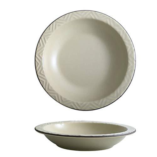 BJF Plato de pasta / plato profundo, blanco lechoso, plato hondo con patrón en relieve, porcelana premium, cuenco sopero, ensaladera, plato de postre, apto para lavavajillas, 21,8 cm (blanco)