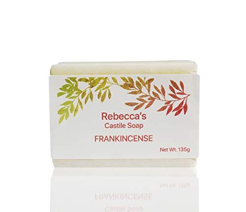 Savon de Castille Rebecca - Fabriqué avec des huiles biologiques - Avec de l'huile d'olive biologique, du beurre de karité biologique, du sel rose de l'Himalaya / 135g (encens)