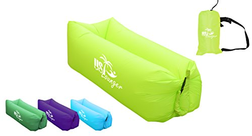 US Lounger Green Apple Fast Inflatable Portable Outdoor or Indoor Wind Bed Lounger, Air Bag Sofa, Air Sleeping Sofa Couch, Lazy Bed for Camping, Beach, Park, Backyard