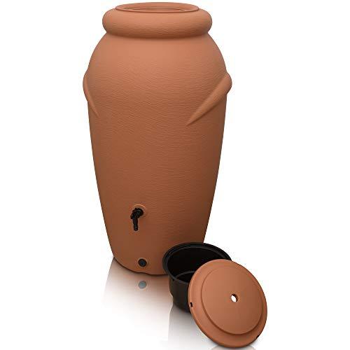 YourCasa Regentonne 210 Liter [Amphore Design] Regenfass Frostsicher aus Kunststoff - Regenwassertonne mit Wasserhahn - Regenwassertank Garten (Terracotta)