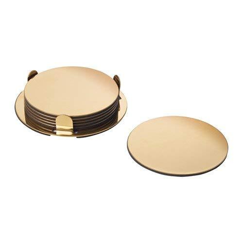 Ikea Glattis - Set di 6 sottobicchieri con supporto, colore: oro/ottone, diametro 8,5 cm, confezione da 6
