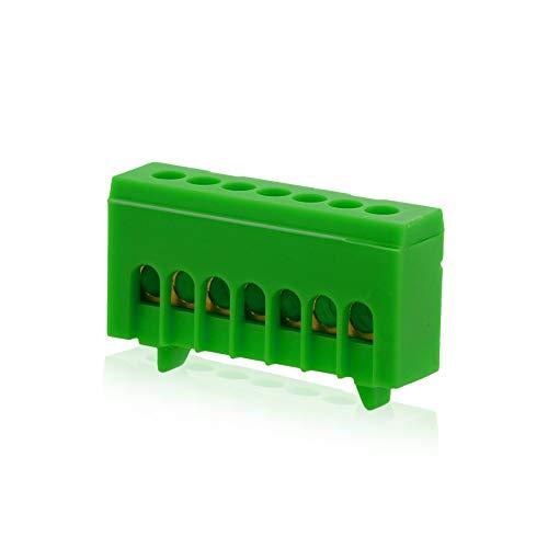 Isolierte Neutralklemme 7 polig Grün für DIN-Schiene Hutschiene Verteilerkasten