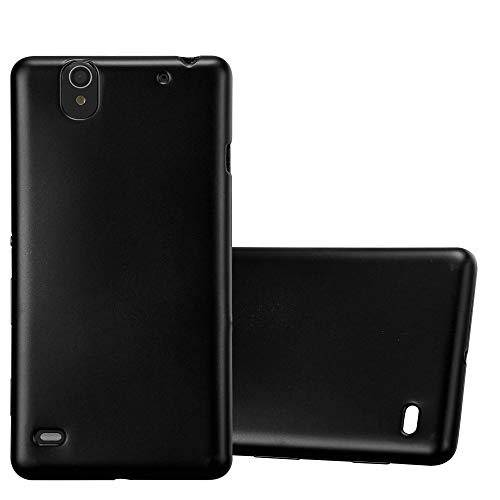 Cadorabo Case Compatible with Sony Xperia C4 in Metallic Black - Shockproof and Scratch Resistant TPU Silicone Cover - Ultra Slim Protective Gel Shell Bumper Back Skin