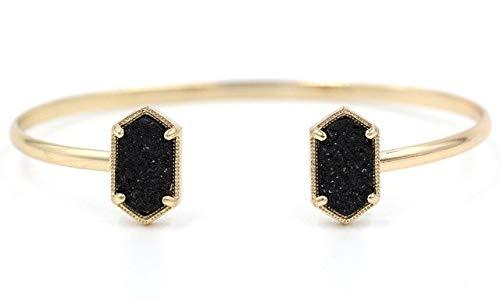 SDFASV Kupfer kleine ovale Quarz Harz Druzy Armreifen Marmor Stein Stulpearmbänder für Frauen Gold schwarz