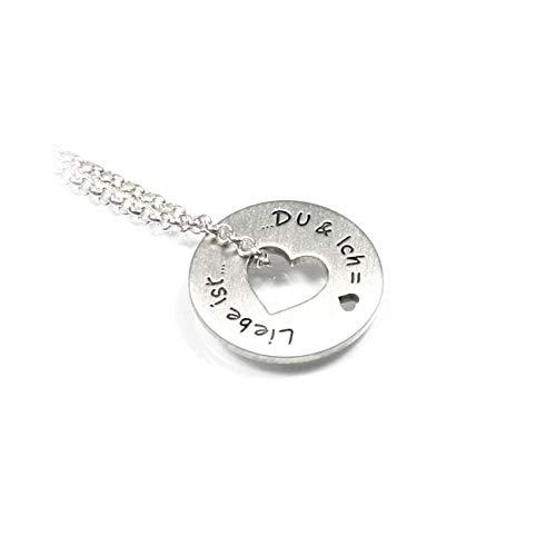 Herz Anhänger Form: RUND mit 45 cm Kette beides aus 925 Silber individuelle Wunsch Gravur Namenskette Datum Initiale | Damen | PS16KE2 (R)