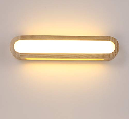 HBVAN LED Lámpara de pared Interior, Apliques de Pared Madera Regulable Luces de pared Iluminación de pared para Sala de estar (45CM)