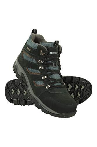 Mountain Warehouse Chaussures mi-Hautes Voyage Hommes - revêtement en Daim & Maille, imperméables, Semelle intermédiaire EVA, Semelle en Caoutchouc - Marche, randonnée Noir 44