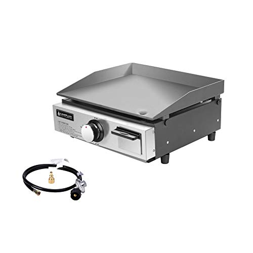 Camplux Propane Gas Griddle Grill, 15,000 BTU Portable Stovetop Griddle, Outdoor Griddle with 20 lb LP and Quick RV Connector for Household RV Picnics or Tailgating