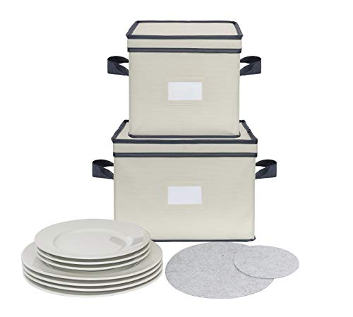Chapman & Grand Plate Storage Chests (2-Piece Set), Dinnerware Protective Container Box for Dinner, Salad or Dessert Plates (Light Beige-Navy)