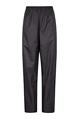 Mountain Warehouse Pakka Womens Waterproof Rain Over Pants - Packaway Bag Black 16