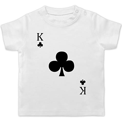 Karneval und Fasching Baby - Kreuz King Kartenspiel Karneval Kostüm - 18/24 Monate - Weiß - Karneval - BZ02 - Baby T-Shirt Kurzarm