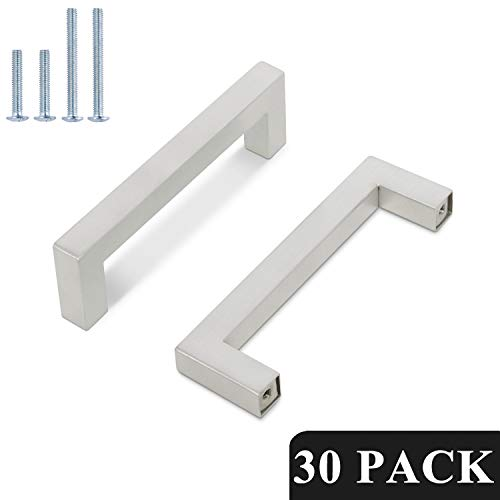 Probrico 4 Inch Satin Nickel Cabinet Pulls Stainless Steel, 30 Pack Door Cabinet Handles,Drawer Dresser Pull Knobs Kitchen Furniture Hardware for Cupboard Wardrobe,Total Lenght:4-1/2 Inch (114mm)