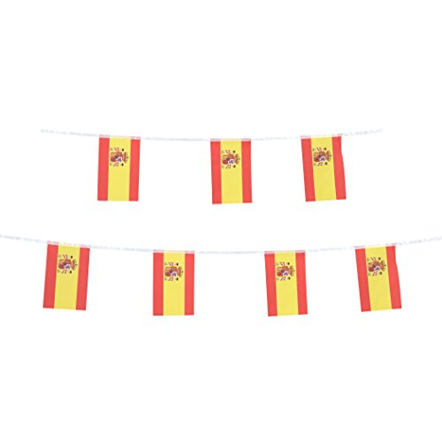 TSMD Spain Flag, 100 Feet Spanish Flag National Country World Pennant Flags Banner,Party Decorations for Grand Opening,Olympics,World Cup,Bar,School Sports Events,International Festival Celebration