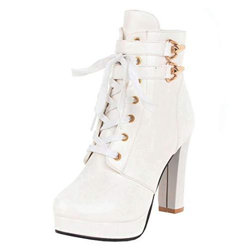 High Heels Ankle Boots Plateau Stiefeletten mit Schnürung und 10cm Absatz (Weiße,39)