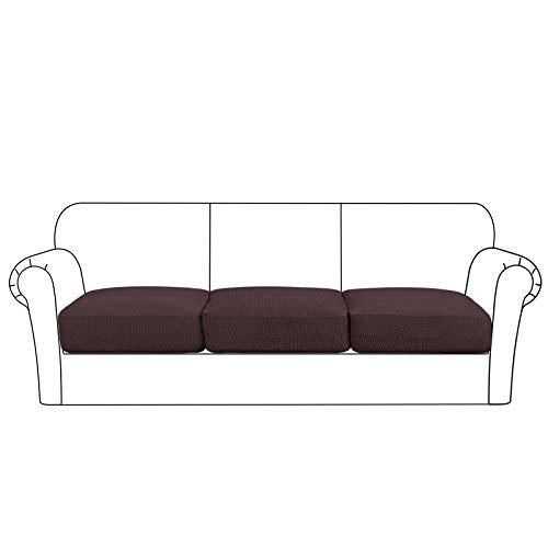 High Stretch Seat Cushion Cover Sofa Cushion Furniture Protector fot Sofa Seat Sofa Slipcover Sofa Cover Soft Flexibility with Elastic Bottom (3 Pieces Cushion Covers, Brown)