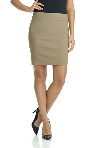 Rekucci Women's Ease Into Comfort Above The Knee Stretch Pencil Skirt 19 inch (Small,Oatmeal)