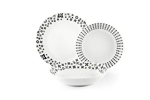 Excelsa Black Lily - Vajilla de 18 piezas, porcelana