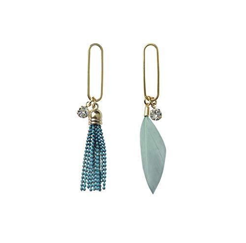 Carino Hollow Metal Hoop Piccole perle Nappa Piuma Orecchini pendenti asimmetrici Orecchini pendenti stile fata coreano per le donne Ragazze 2 pezzi