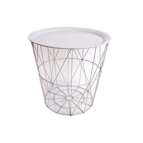 Cherish Home Round White Geometric Wire Metal Tray Table