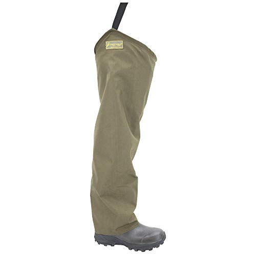 FROGG TOGGS Mens Brush Hogg Heavy-Duty Nylon Bootfoot Hip Wader, Cleated Outsole, Brown, 10