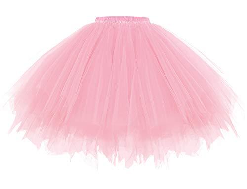 Gardenwed Tüllrock Petticoat Kurz Tutu Minirock Retro Unterrock Ballet Tanzkleid 2021 Neujahr Festliche Partykleid Tutu Schwingen Rockabilly Damenrock Tüllrock in Rosa Pink XL