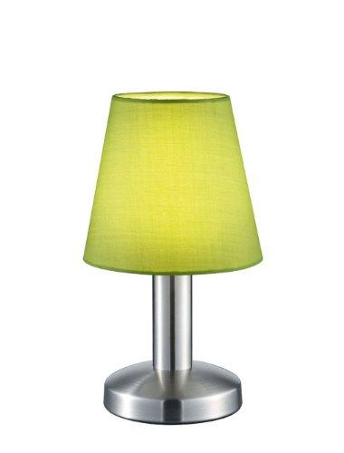 Trio Leuchten Tischleuchte in Nickel matt, Stoffschirm, grün 599600115