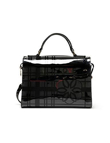 Desigual Bols_cristal Paris - Bolso de mano para mujer, 17,5 x 23,8 x 30,5 cm, color negro