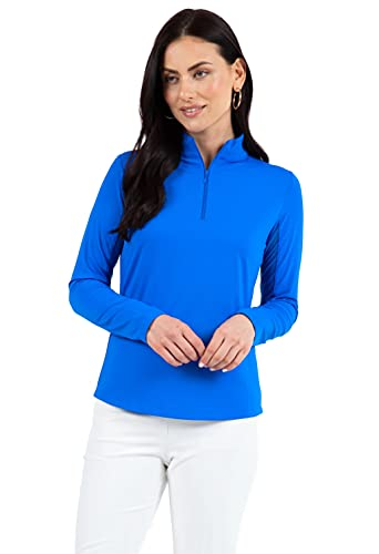 IBKUL Women's Sun Protective UPF 50+ Cooling Solid Long Sleeve Mock Neck Top 80000 Blue Solid M