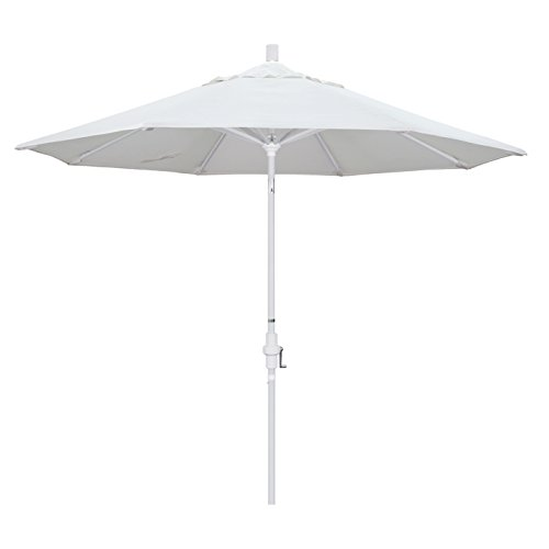 California Umbrella 9' Round Aluminum Market Umbrella, Crank Lift, Collar Tilt, White Pole, White Olefin