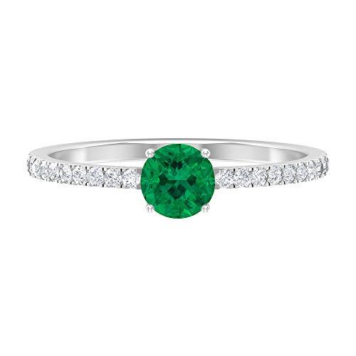 Anillo de compromiso de diamante HI-SI de 5 mm de turmalina verde, anillo de compromiso de oro solitario para mujer, 14K Oro blanco, Size:EU 65