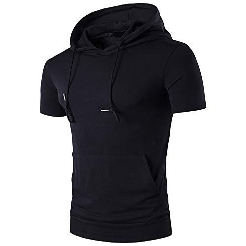 KXZD Herren Sweatshirt Hipster Hip Hop Freizeitmode Kurzarm Hoodies Sport Jogger T-Shirt Workout Pullover Hooded Gym Kurzarmhemd Einfarbiges Kapuzenpullover Sweatjacke Trainingsjacke