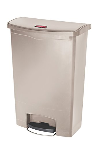 Rubbermaid Commercial Products Slim Jim Step-On Plastic Trash/Garbage Cans, 24 Gallon, Plastic Front Step Step-On, Beige