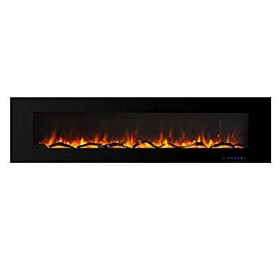 Valuxhome Luxey 72 Inches Wall Mount Electric Fireplace Heater 1500W with Remote and Touch Screen Control, Timer and Thermostat Setting, Logset and Crystal, Black