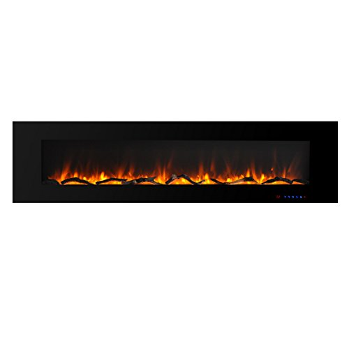 Valuxhome Electric Fireplace, 72 Inches Wall Mounted Fireplace with Overheating Protection, Thermostat, Timer & Remote, Log & Crystal, Touch Screen, 1500/750W, Black