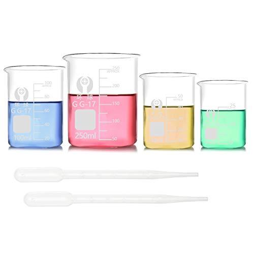 JJYHEHOT Glas-messbecher, Messbecherset, Praktisch Zum Backen in Der Küche Oder Für Labormessungen (4 Stück)
