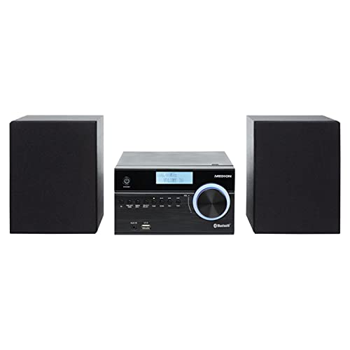 MEDION P64187 Micro Audio System Kompaktanlage (DAB+, PLL UKW Radio, Bluetooth, USB Anschluss, AUX, 2x50 W)