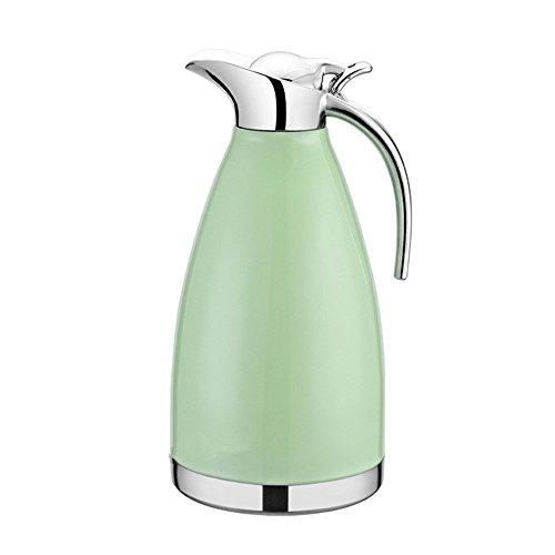 Haosens 2 L Edelstahl Isolierkanne kaffeekanne Vakuum isolierung thermoskanne Kaffeetopf -100% dicht,Heiß und kalt dual Gebrauch (Grün)