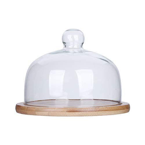 PETAAA Cake Carrier, Dessert Display Trays With Glass Dome Hotel Restaurant Pizza PlatesFruit Stands Salad And Cheese Dome Muffin Dome(Size:21 * 12cm)