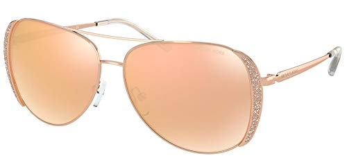 Michael Kors MK1082 Chelsea Glam Rose Gold Frame/Rose Gold Flash Lens One Size