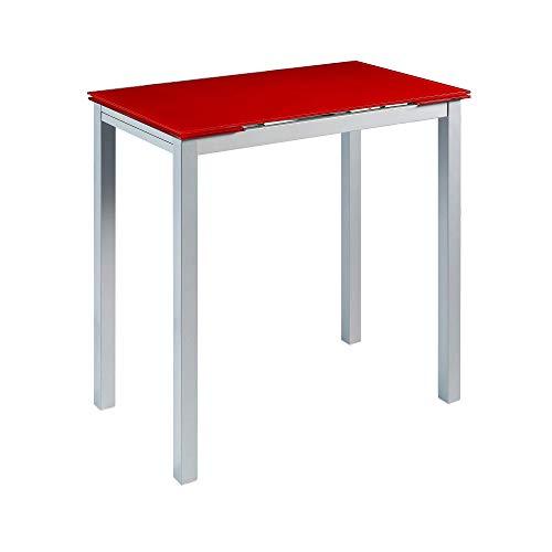 MOMMA HOME Mesa de Cocina Extensible - Modelo CALCUTA Alta - Color Rojo/Plata - Material Cristal Templado/Metal - Medidas 100/140 x 60 x 95 cm