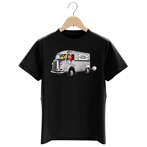 Okiwoki T-Shirt Enfant Garçon Noir Parodie Pokémon - Super Mario - Mario et Pikachu - Plomberie - Electricité Générale (T-Shirt Enfant de qualité Premium de Taille 11-12 Ans - imprimé en France)