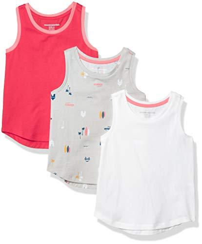 Amazon Essentials 3-Pack Tank-top-and-cami-Shirts, 3er-Pack Urlaub/Pink/Weiß, EU 128 cm
