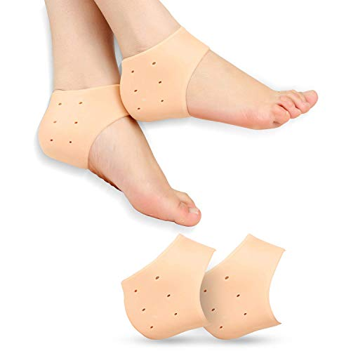 EMAILYA RETAILS Half Heel Socks Anti Crack Silicon Gel Heel And Foot Protector Moisturizing Socks for Foot Care,Pain Relief And Heel Cracks for Men And Women – Beige Free Size